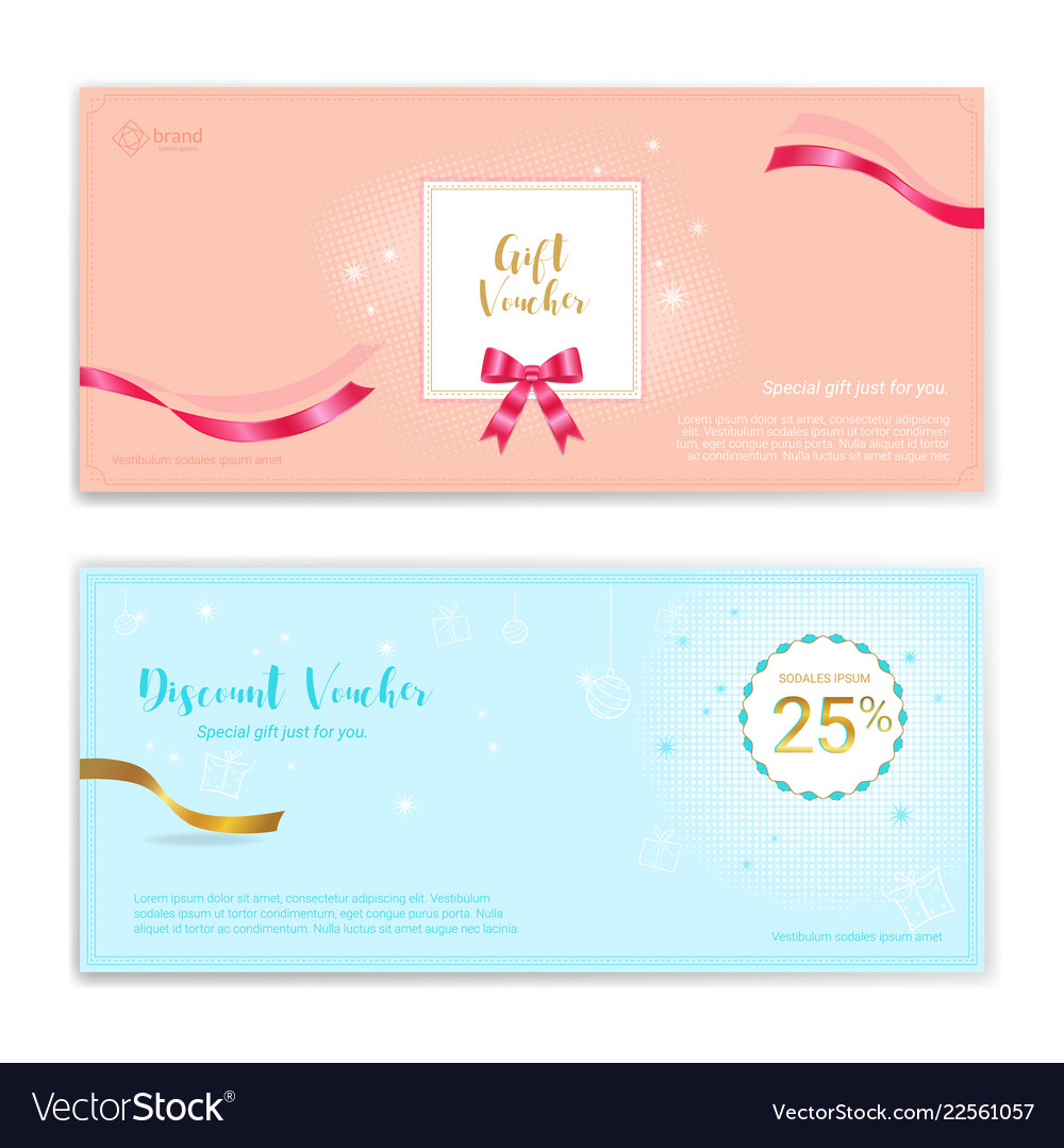 festive gift certificate voucher gift card or vector image