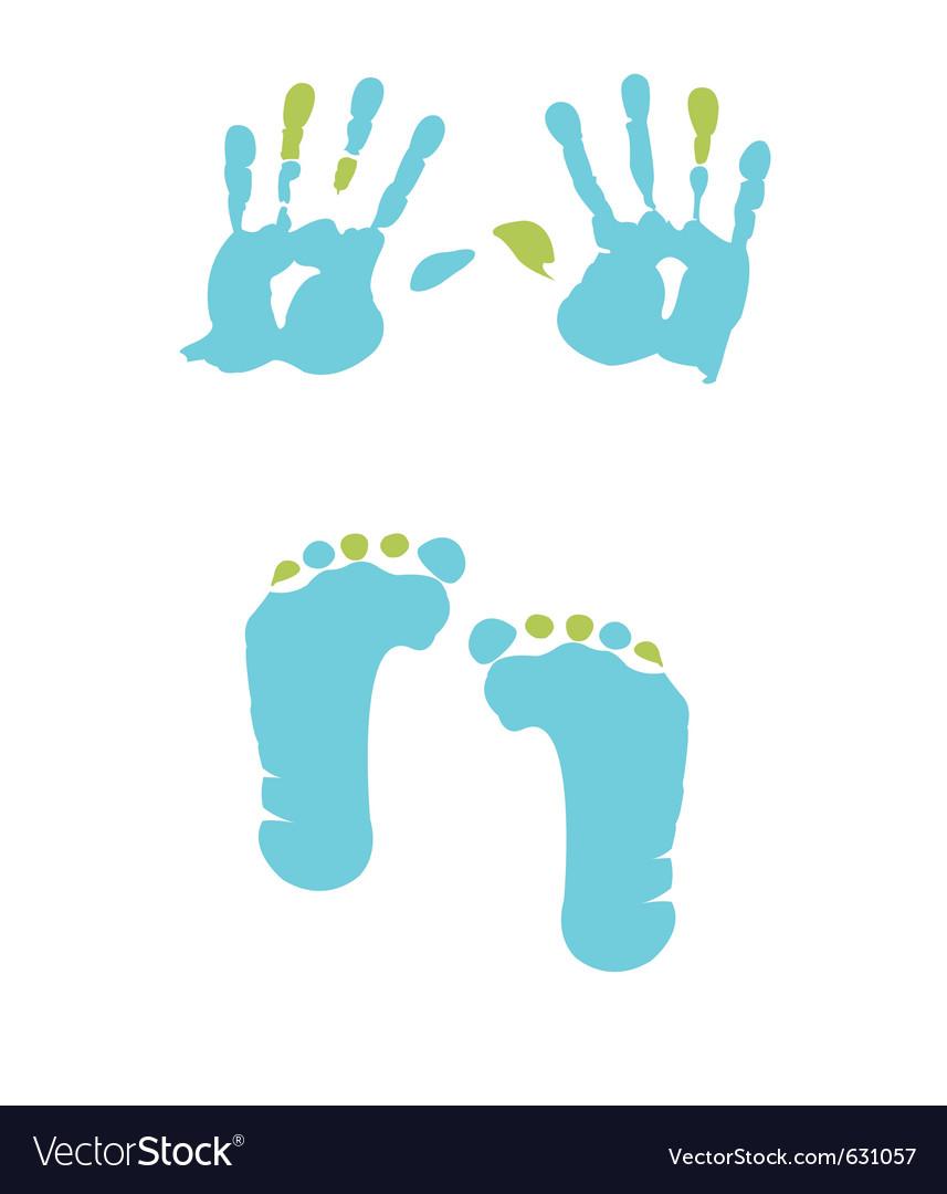 Footprint and handprint vector image