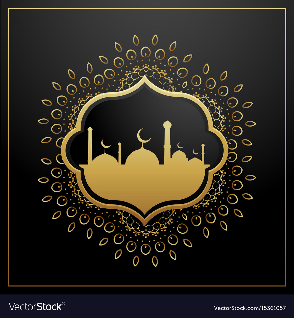 Golden eid festival greeting card design with vector image