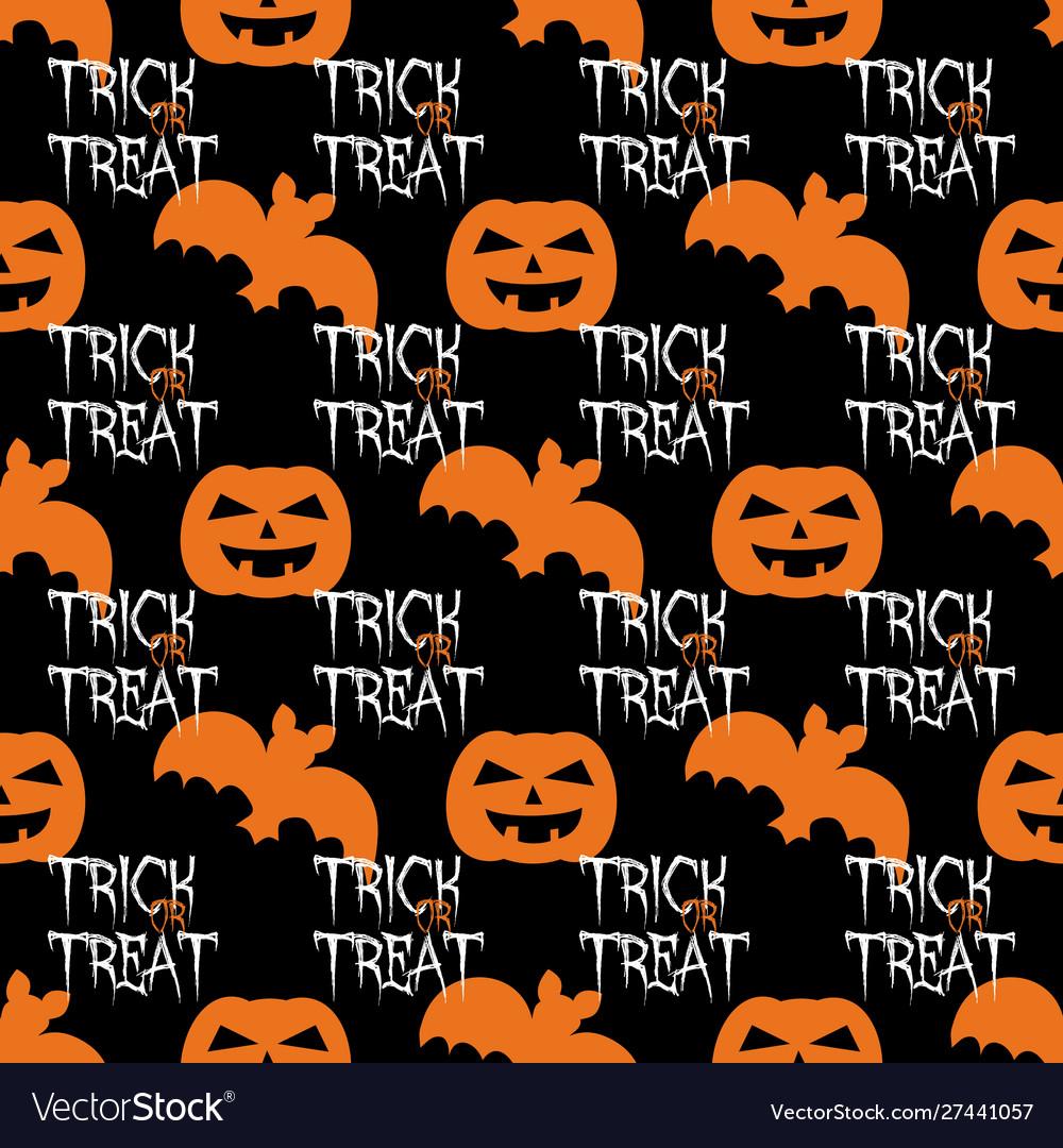 Halloween tile pattern with orange pumpkin and bat