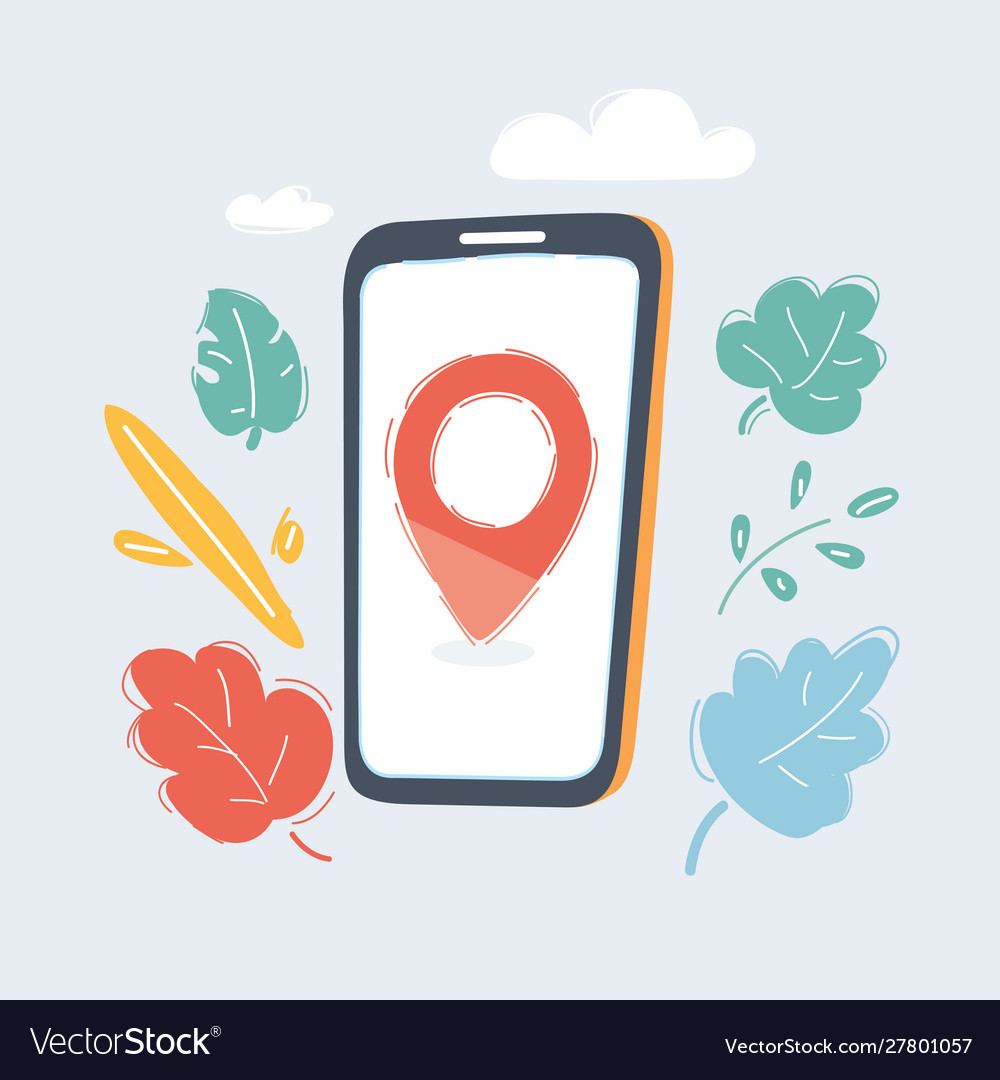 Hand holding smartphone with mobile gps