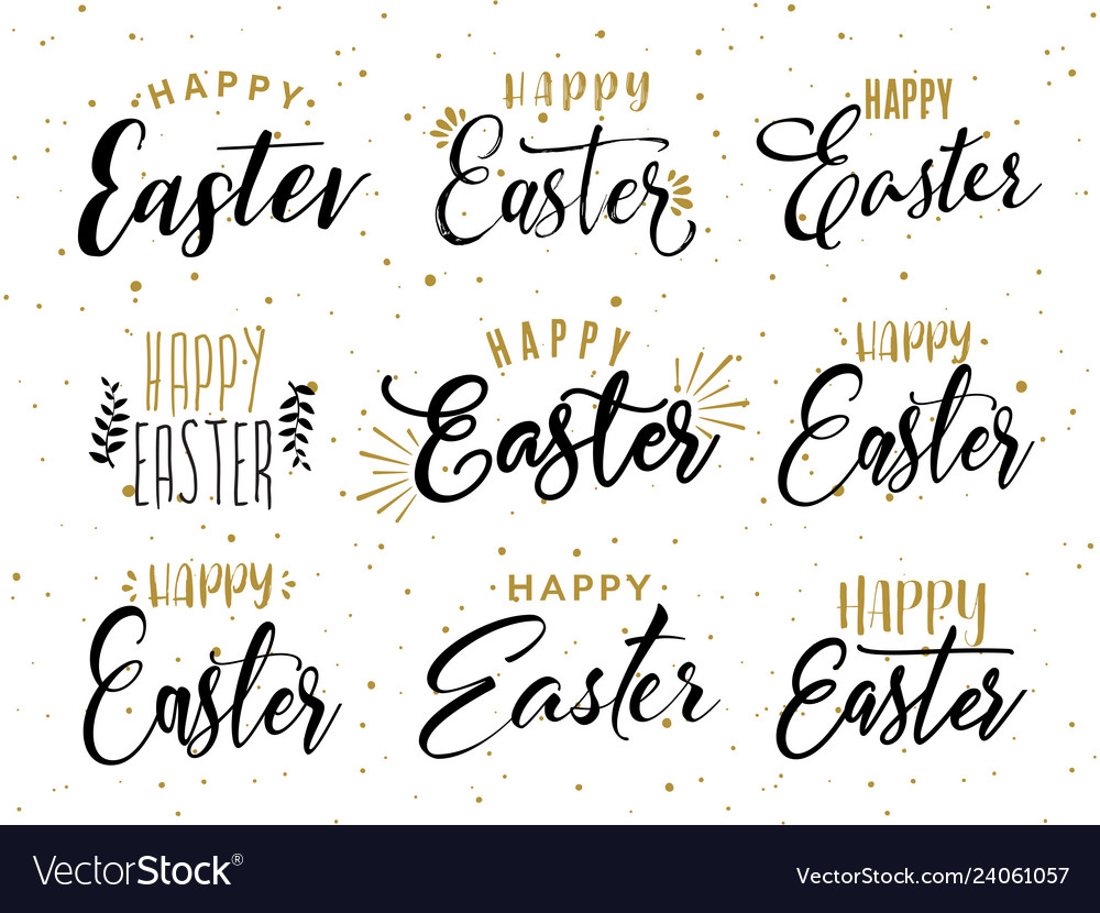 Happy easter hand drawn calligraphy design