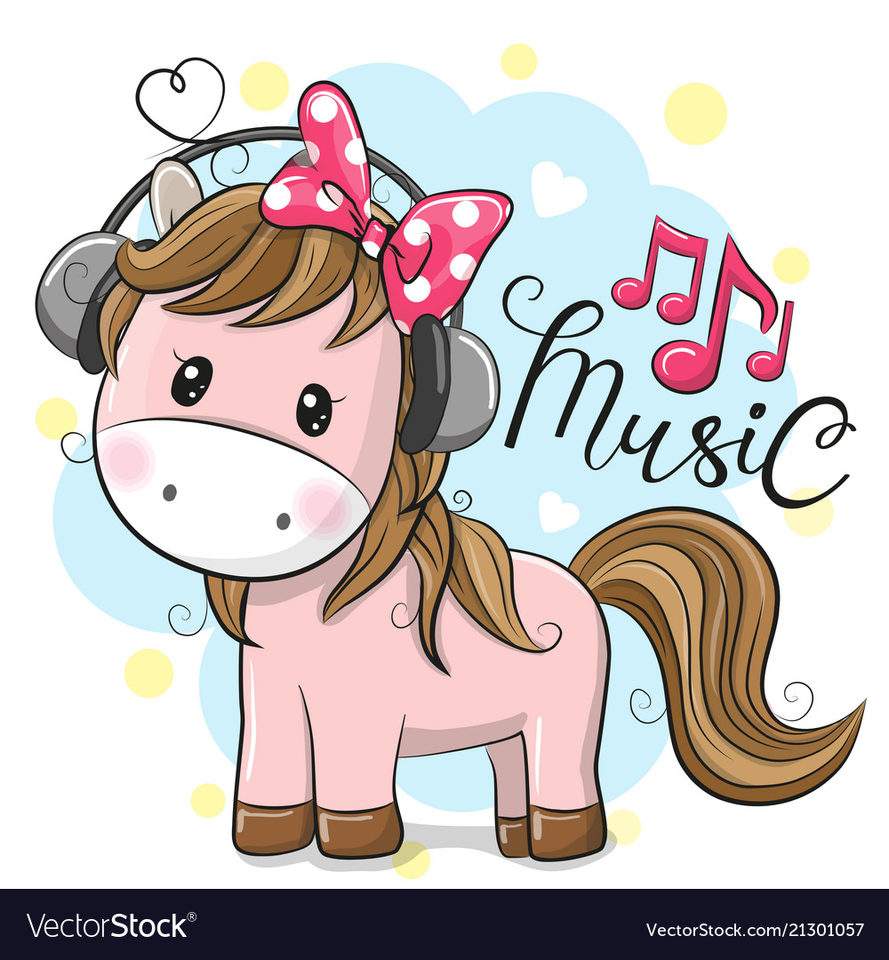 Horse with headphones on a blue background