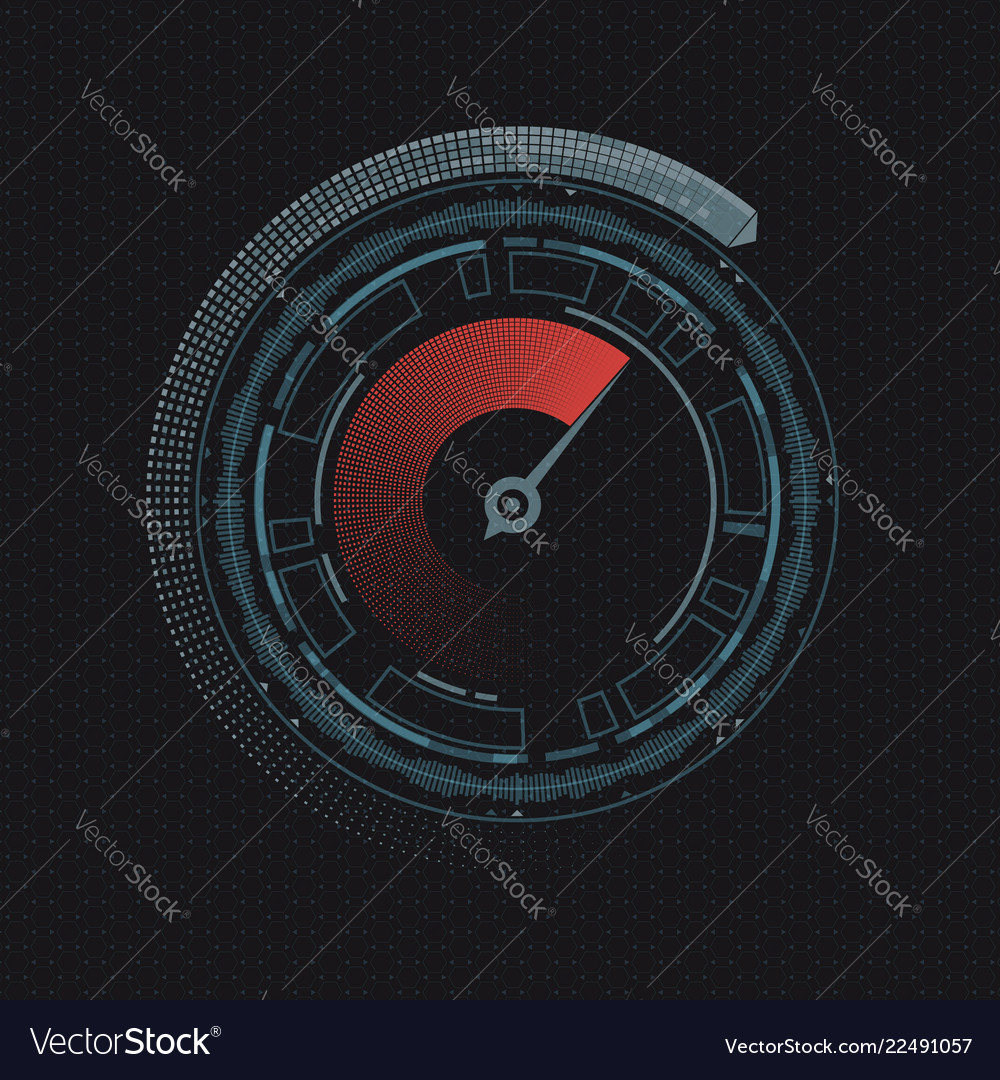 Round speedometer with an arrow