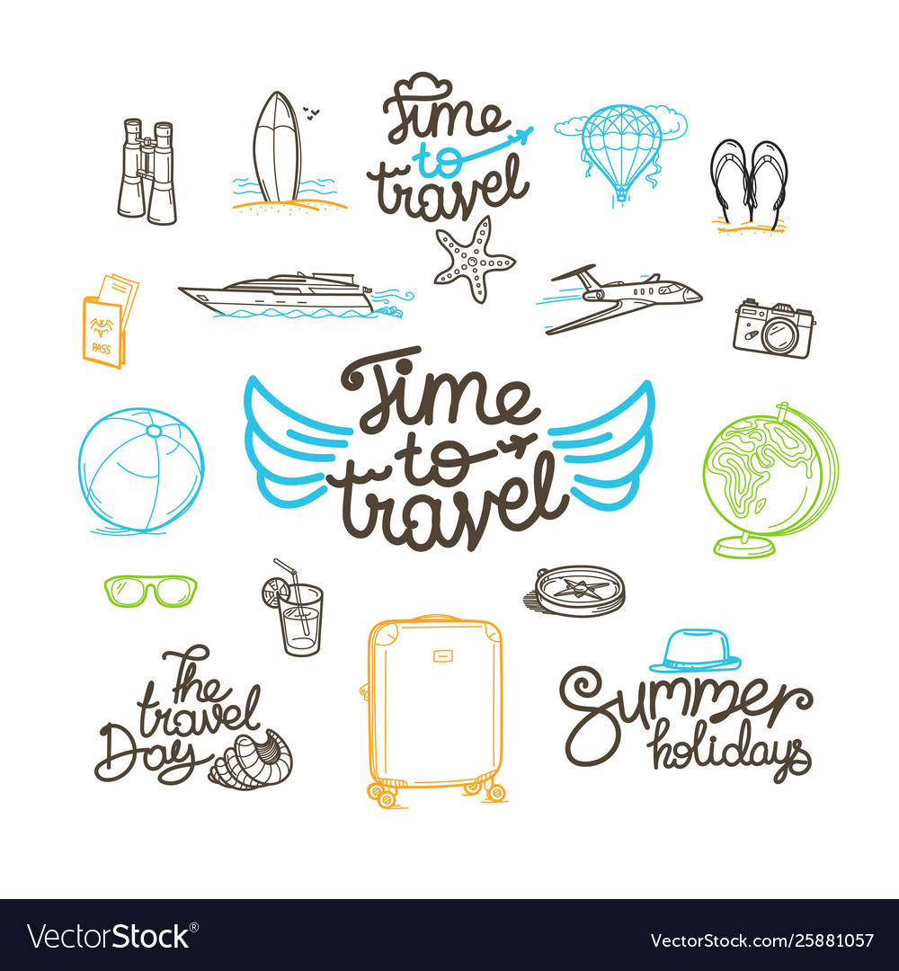 Summer travel doodle style elements cute linear