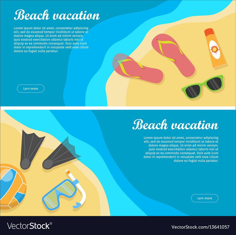 Summertime and beach vacation posters set
