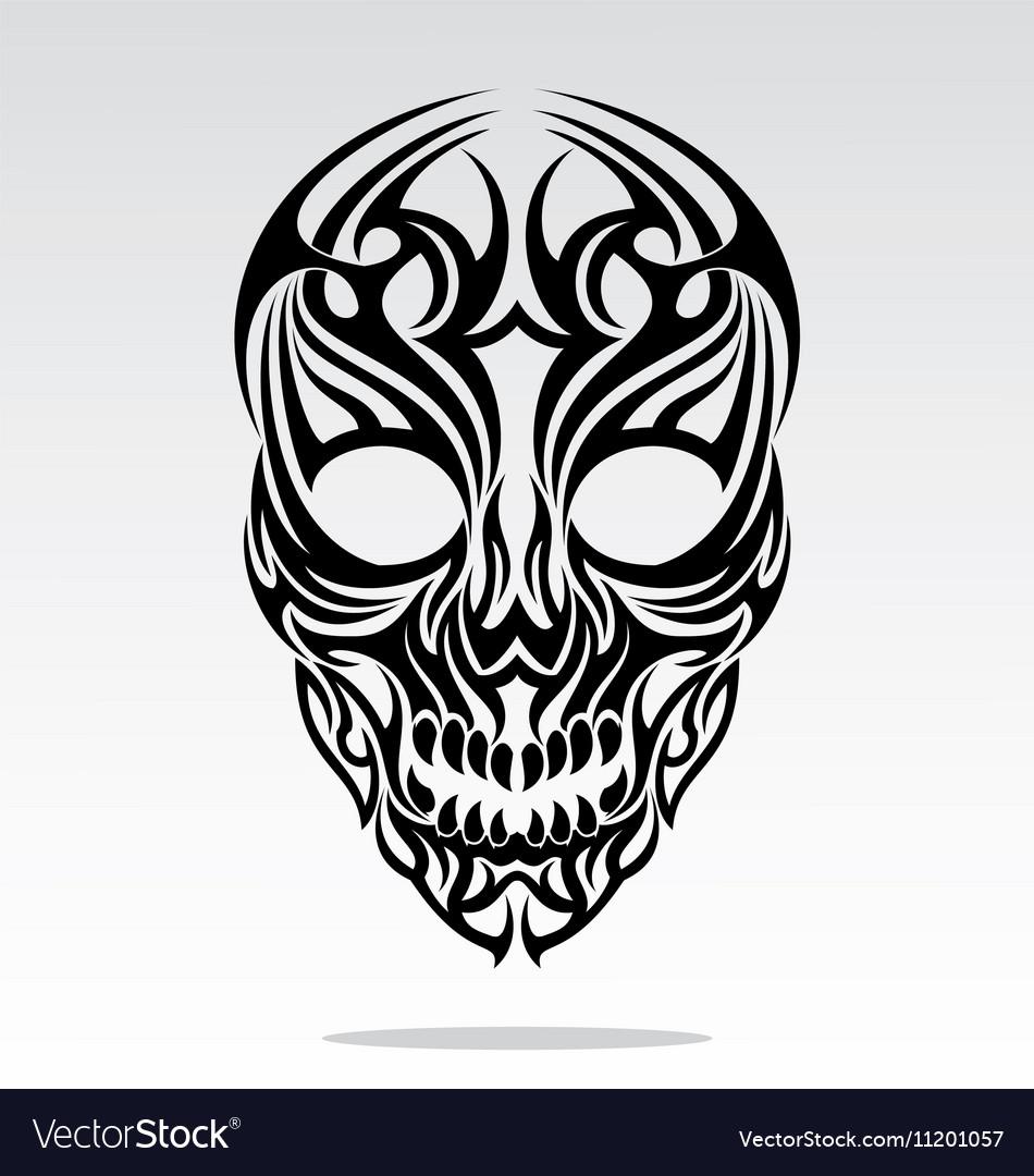 Tribal Skulls Tattoo Design Royalty Free Vector Image