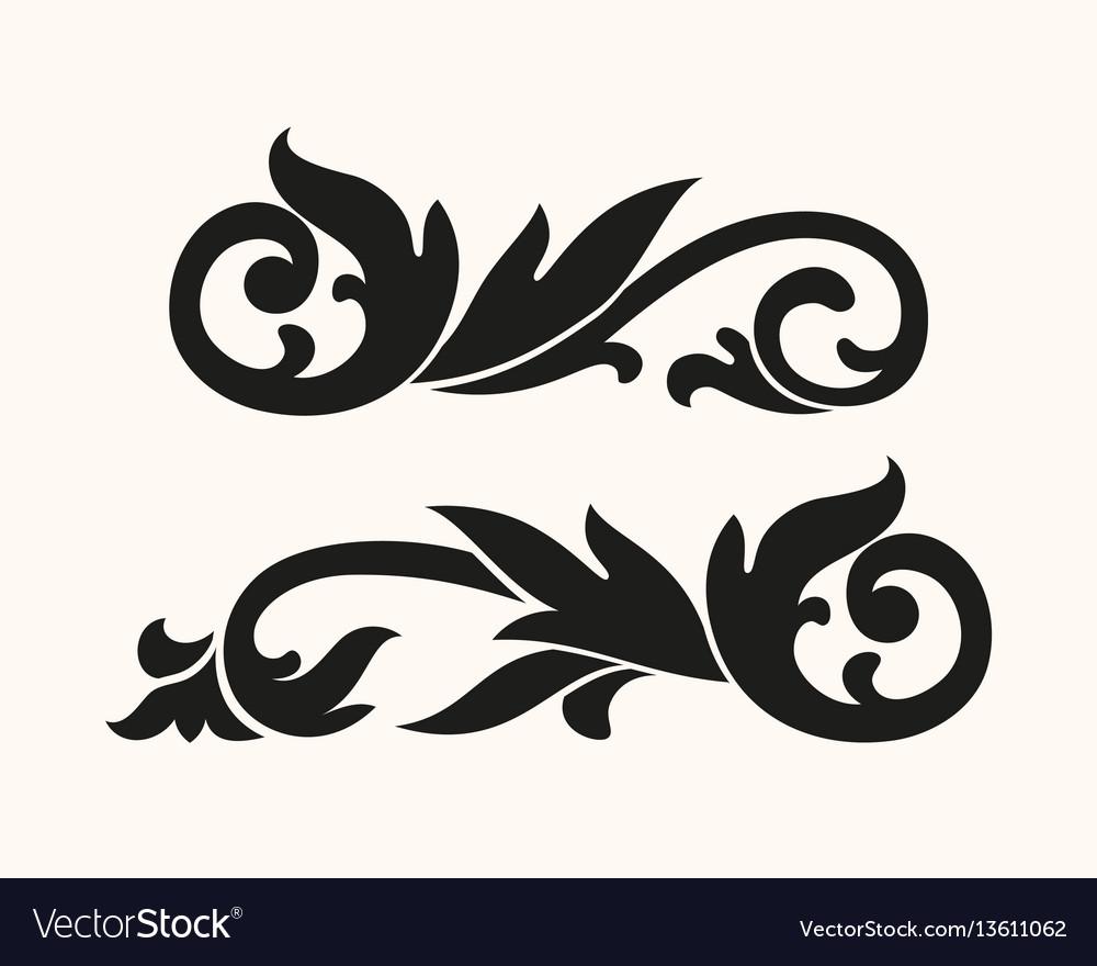 Baroque silhouette vignette vector image