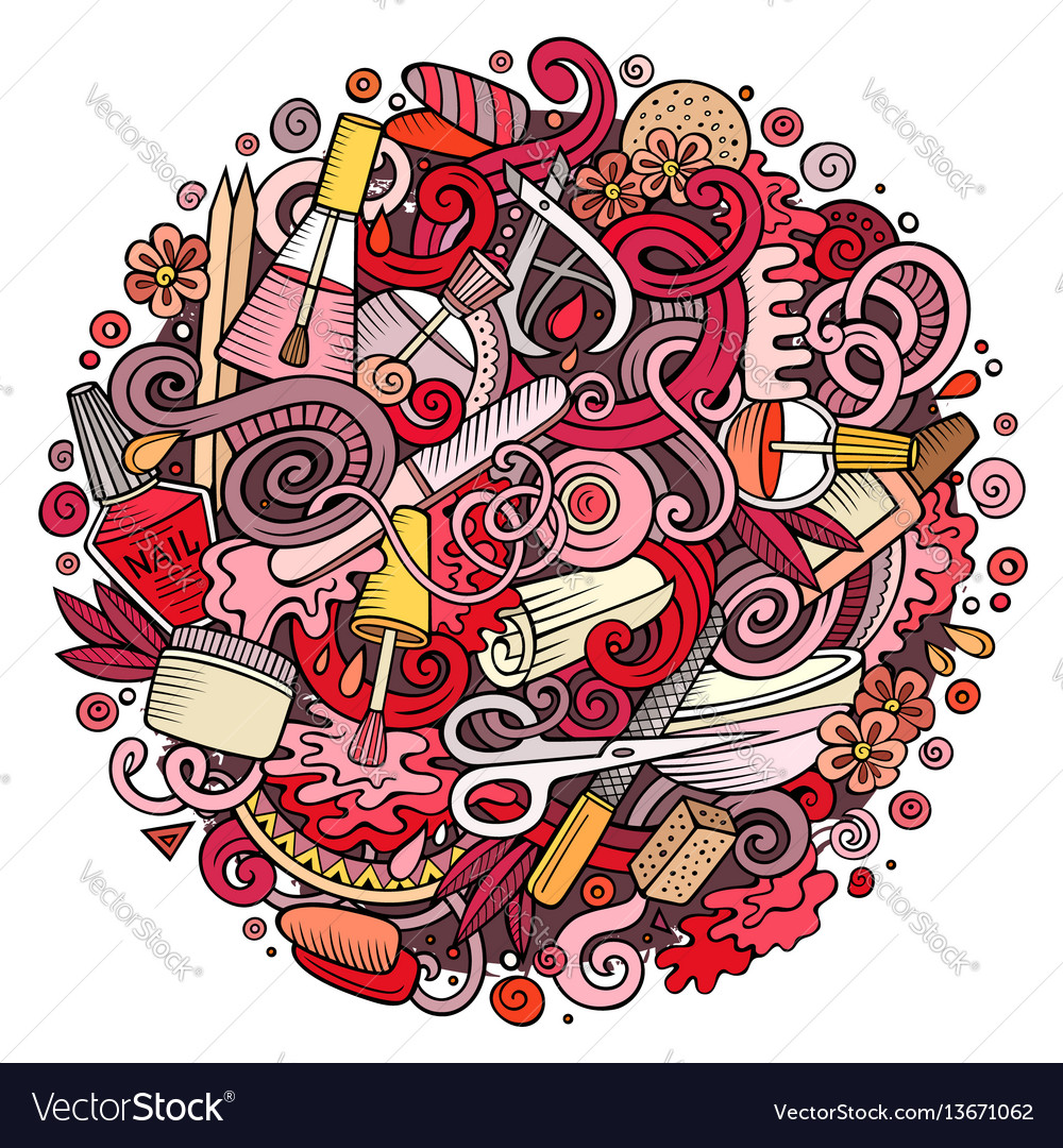 Cartoon doodles nail salon