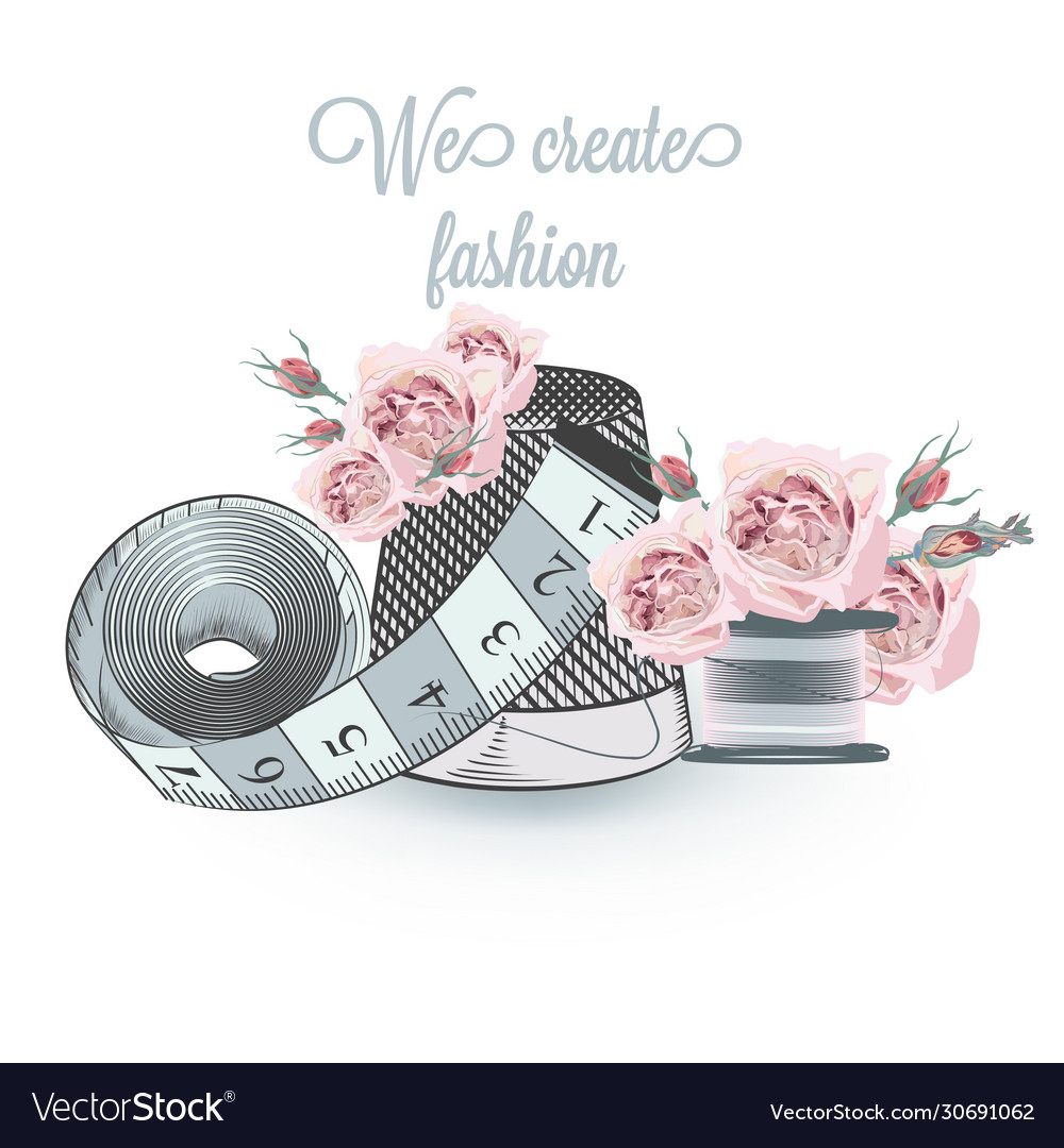 Fashion with sewing accessories and roses