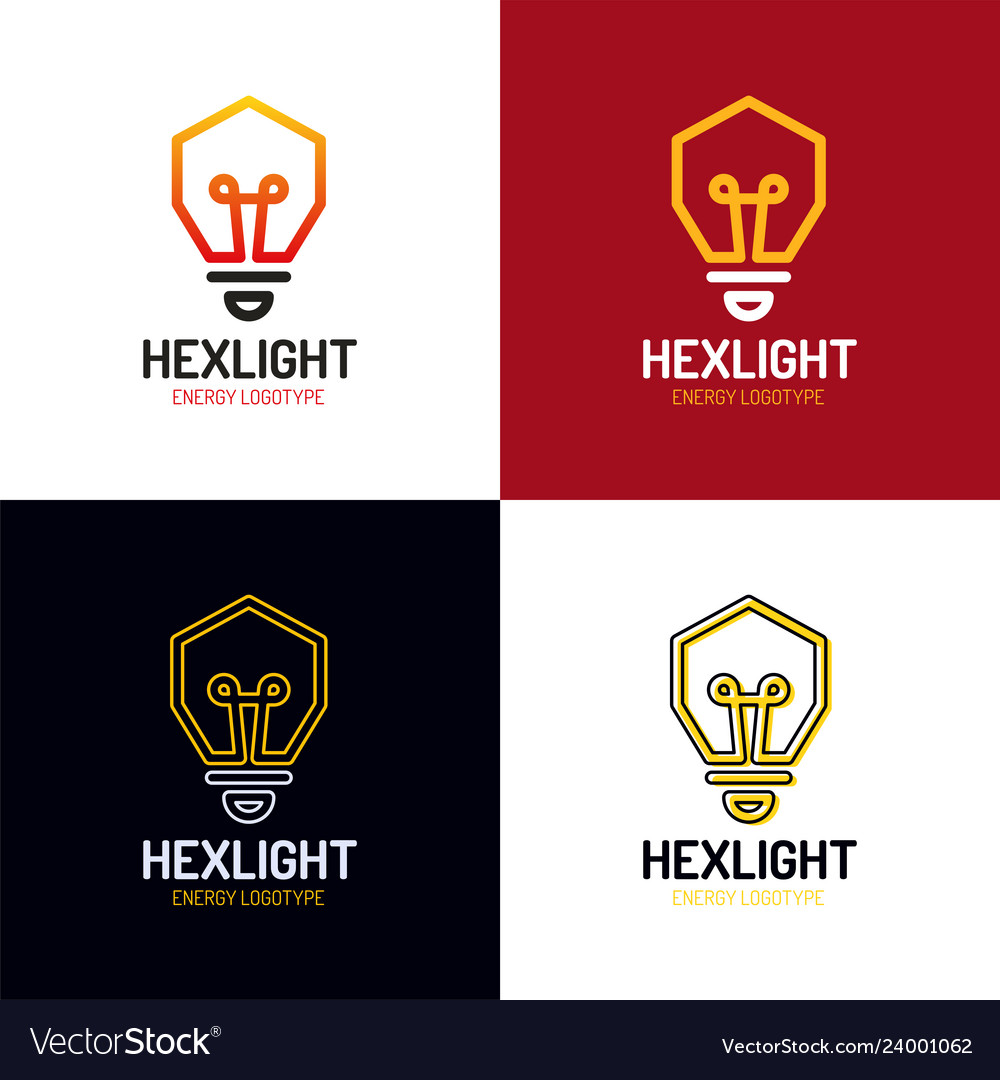 Idea logo design bulb symbol hexagon icon start