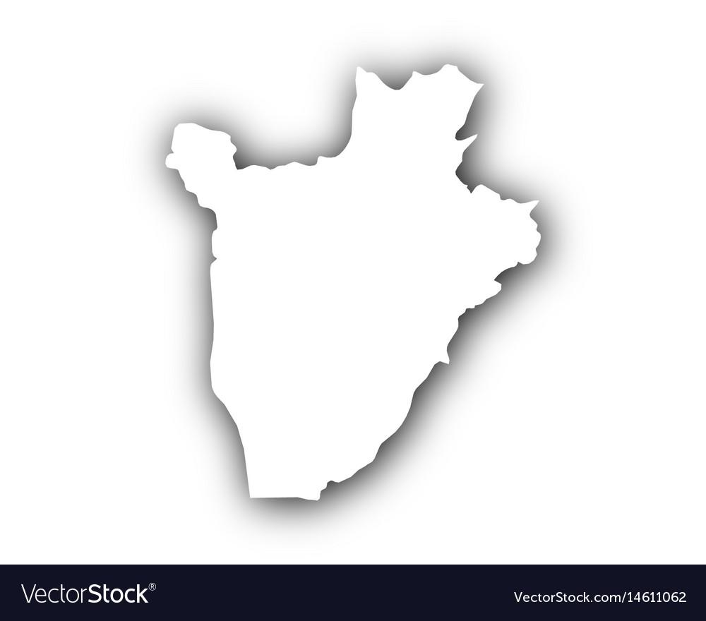 Map of burundi with shadow