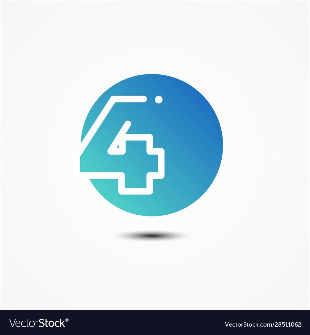 Round symbol number 4 design minimalist