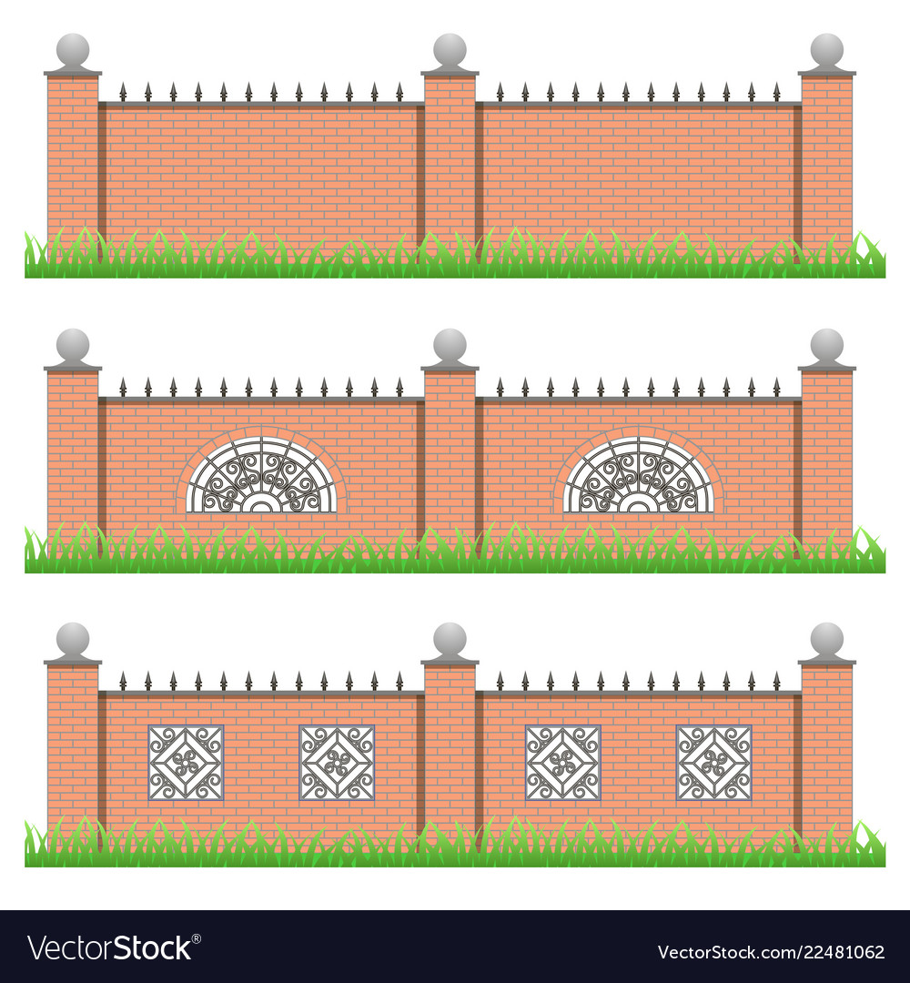 Set of manor or garden brick fences with