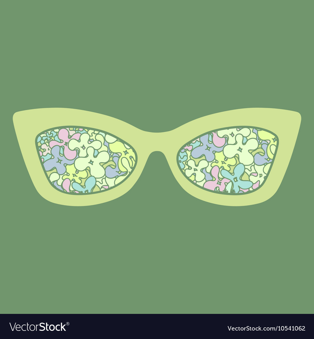 Sunglasses with flowers reflection