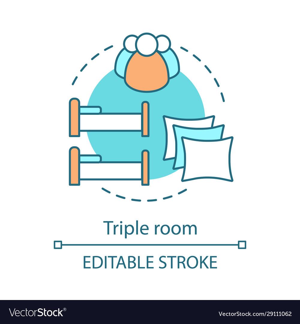 Triple room concept icon