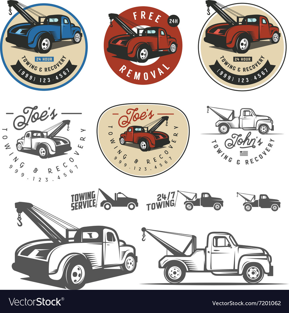 vintage car tow truck emblems and logos royalty free vector rh vectorstock com Tow Truck Logo Designs tow truck business logos