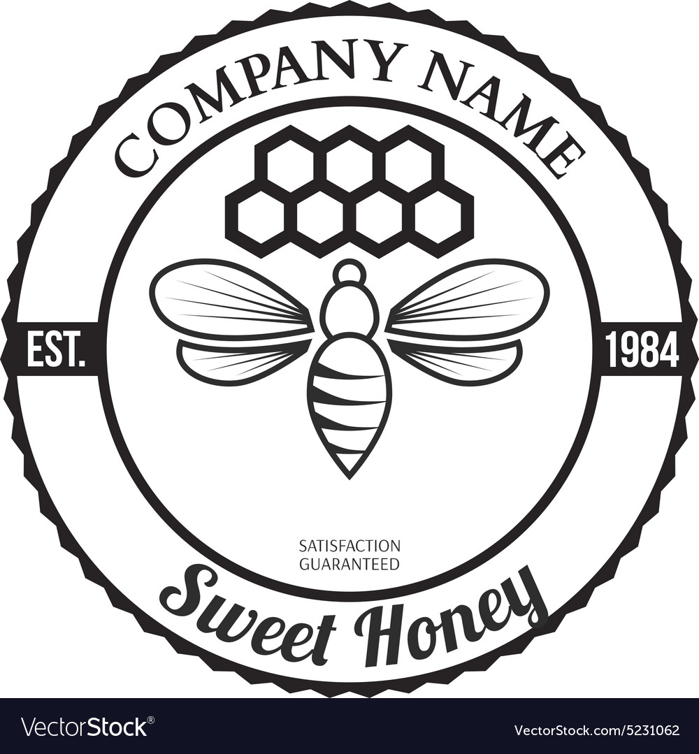 Vintage frame with Honey label template Royalty Free Vector