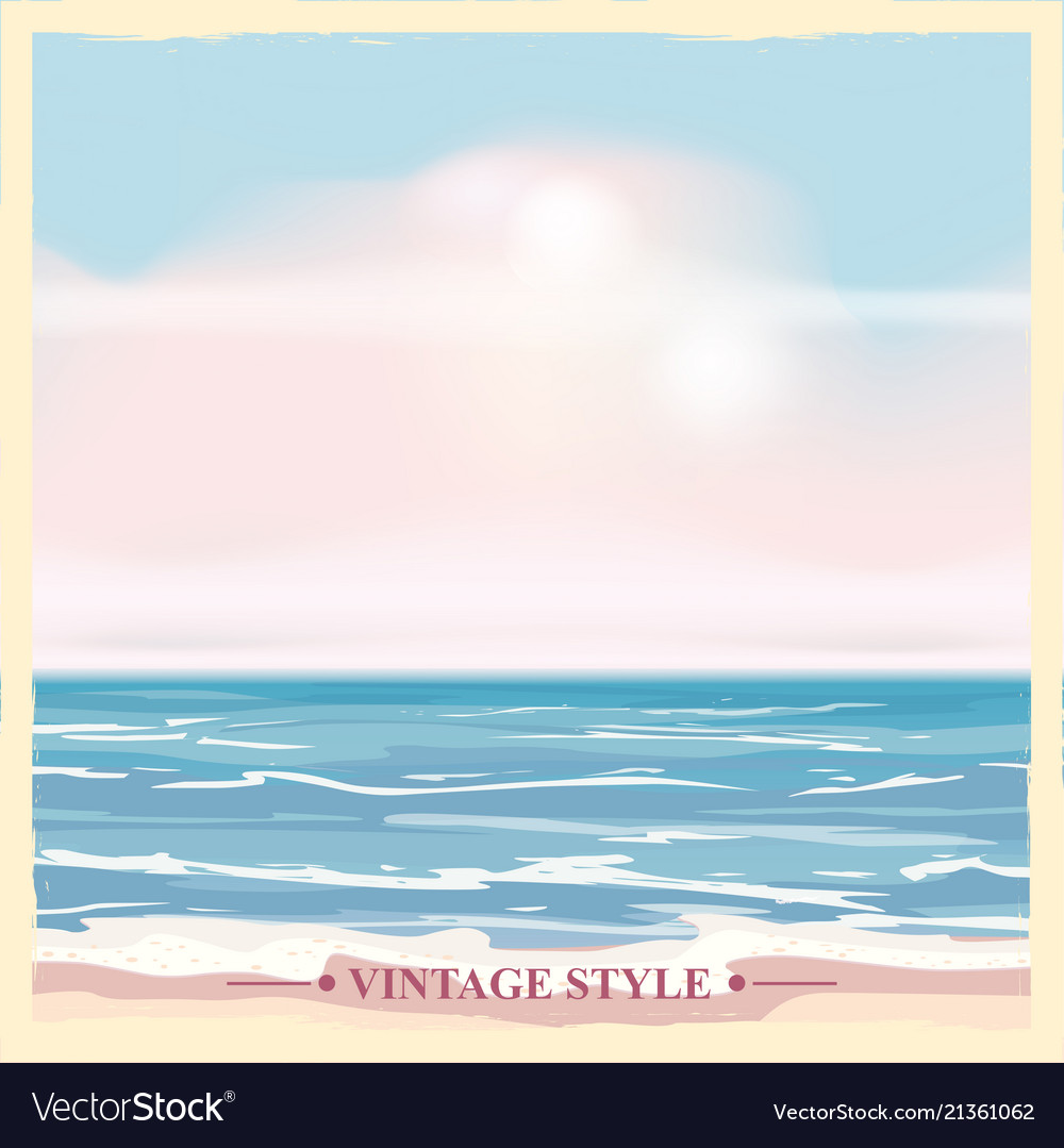 Vintage seaside summer view poster seascape