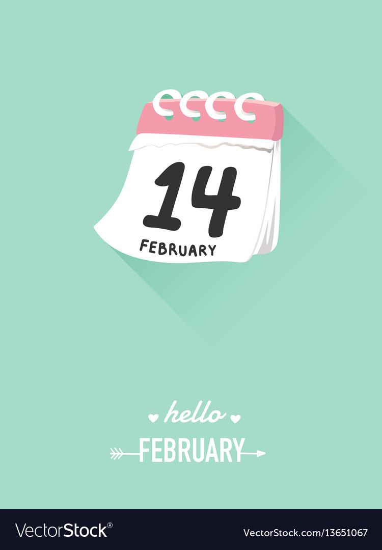 14th february on calendar for valentine concept