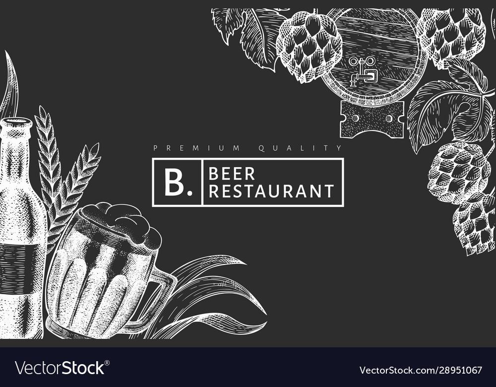 Beer glass mug and hop design template hand drawn