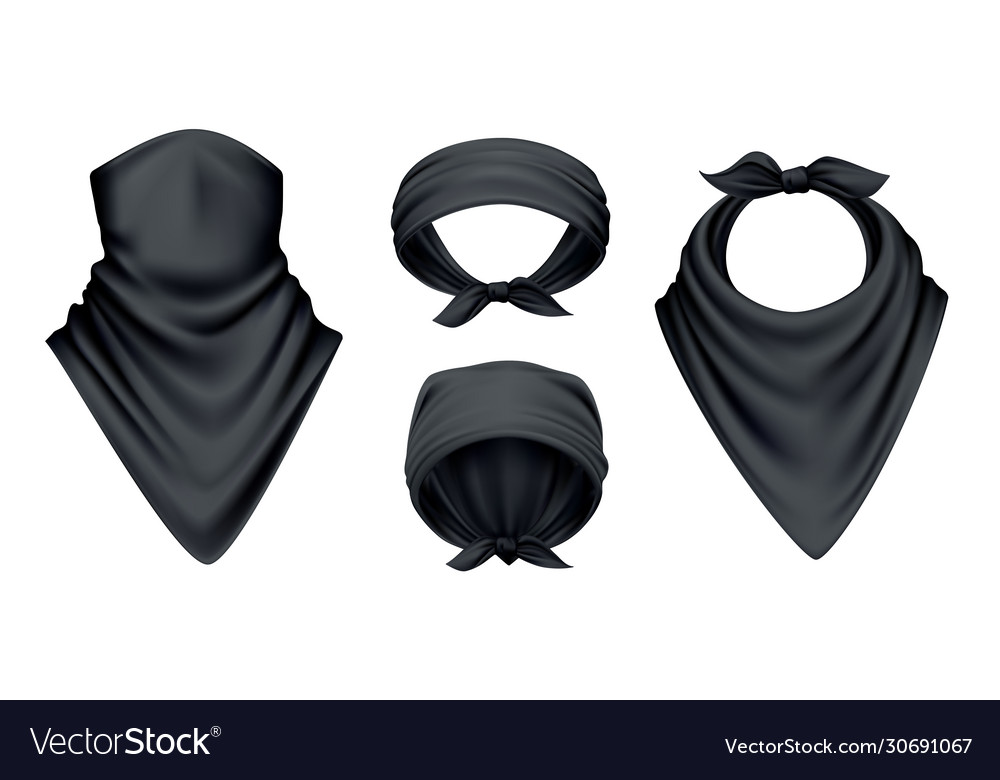 Black bandana realistic set