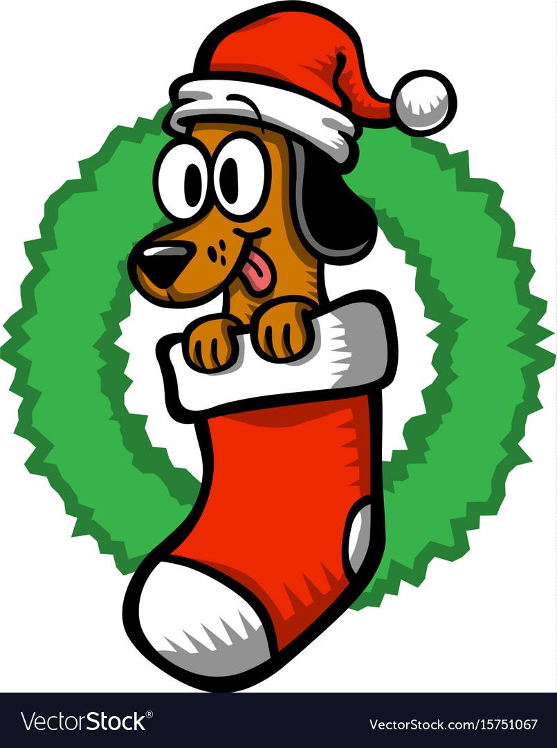 Christmas Hat Cartoon.Cartoon Dog Santa Hat Christmas Stocking