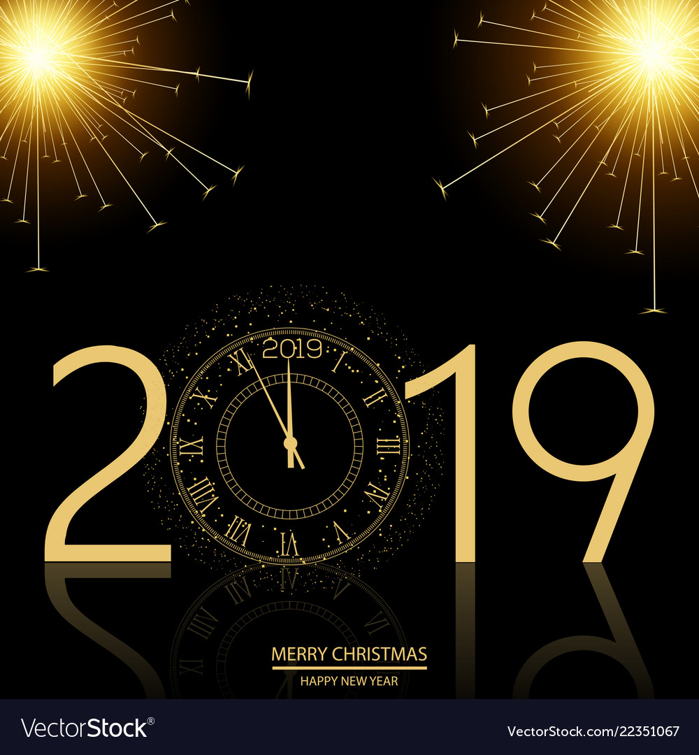christmas and happy new year background with clock vector image
