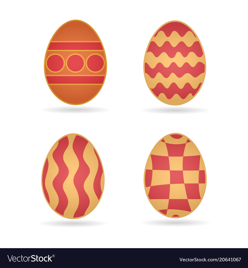 Easter eggs set different schemes of coloring