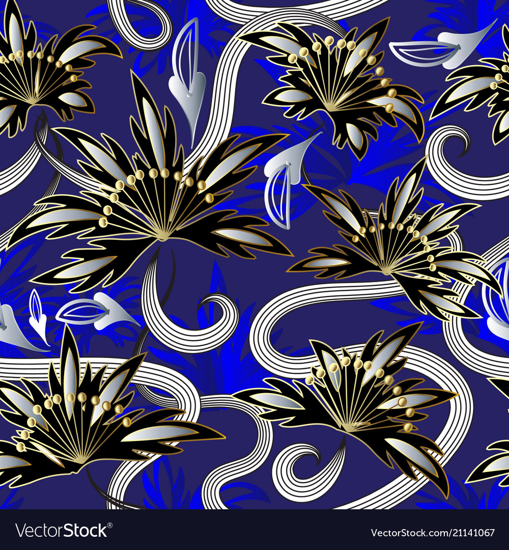 Modern abstract flowers seamless pattern