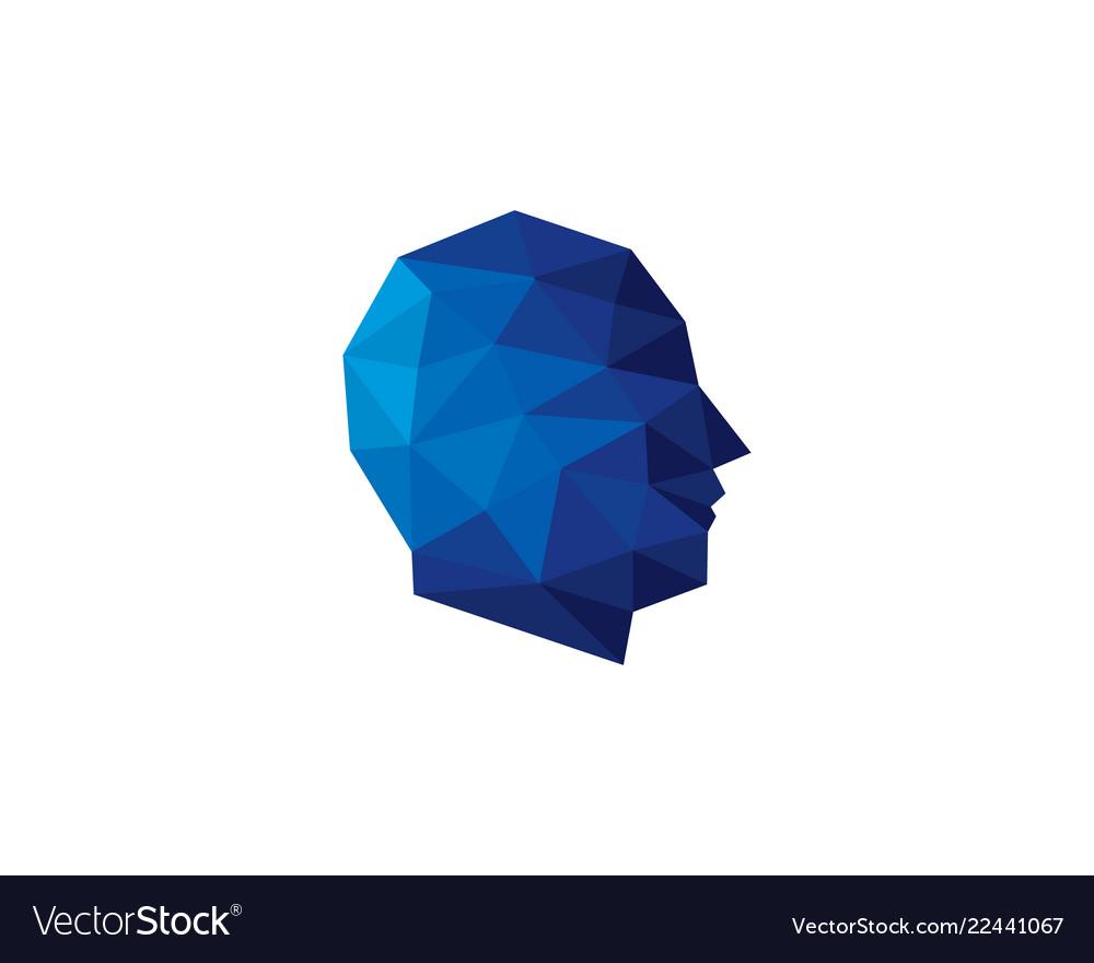 Pixel human head logo icon design