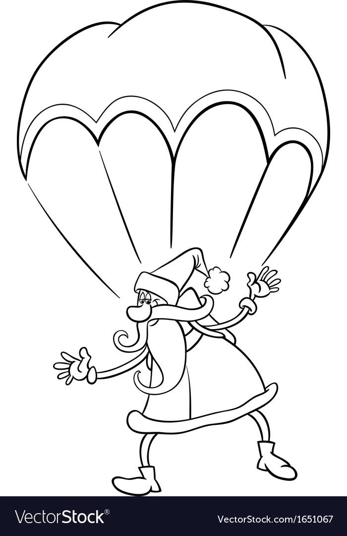 Santa on parachute cartoon coloring page