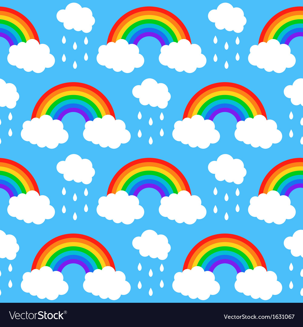 Seamless pattern with rainbows and clouds on a blu