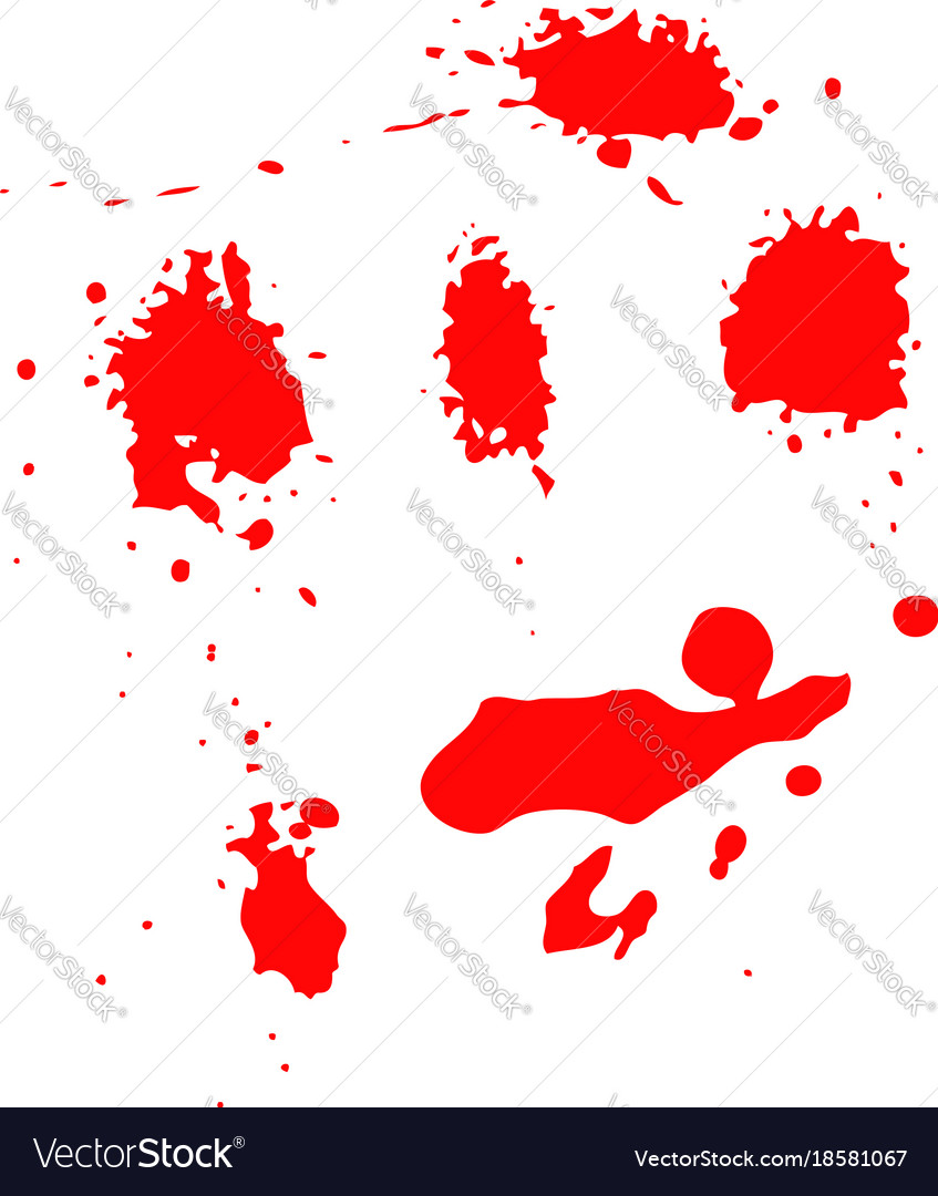 Set of blood splashes isolated on white background