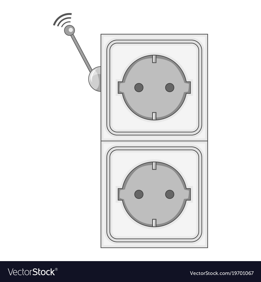 Smart Power Socket Icon Monochrome Royalty Free Vector Image Plug Sockets And Wiring For Electricity Stock