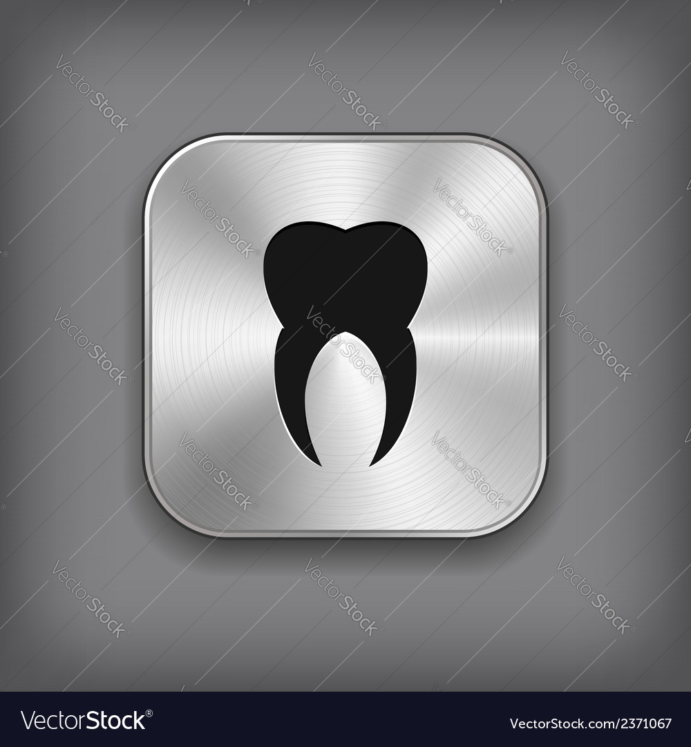 Tooth icon - metal app button