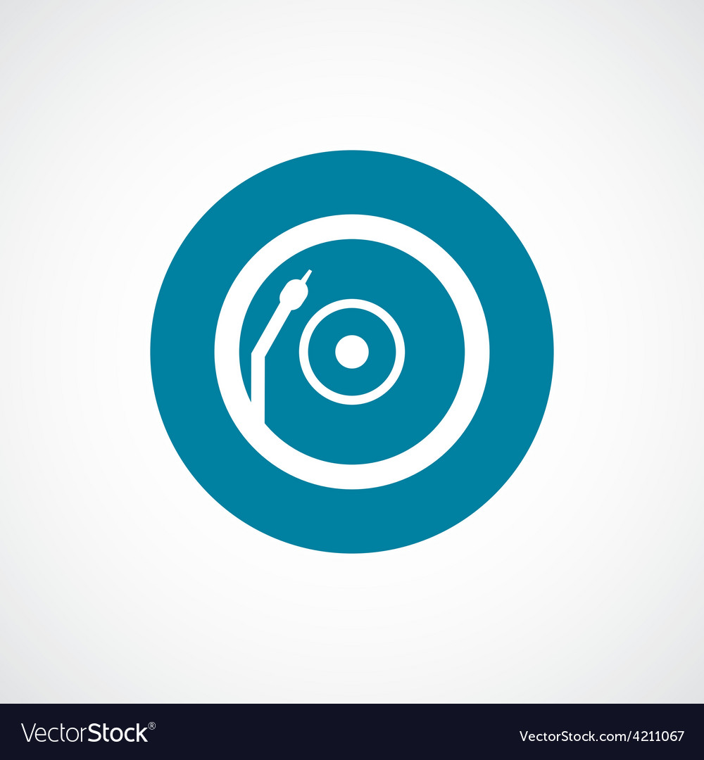 Vinyl turntable icon bold blue circle border vector image