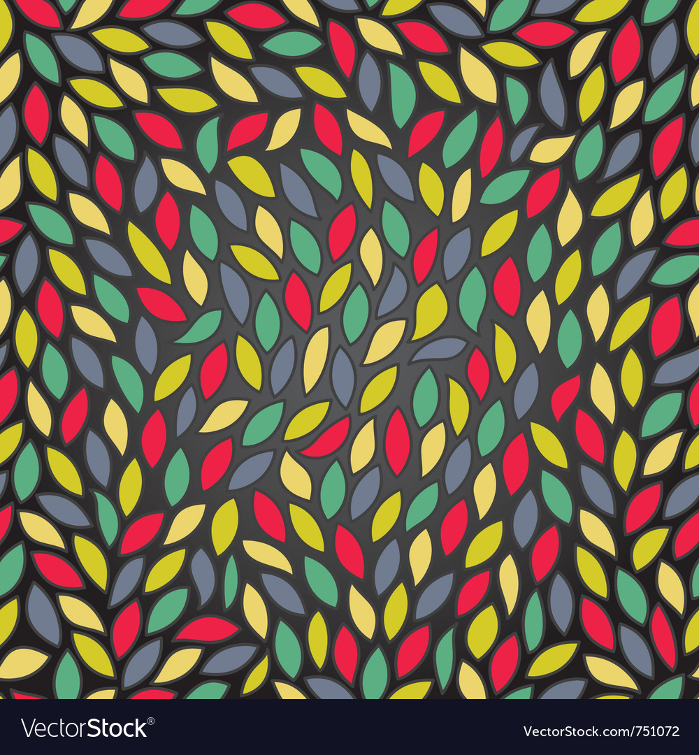 Abstract seamless pattern with colored leaves vector image