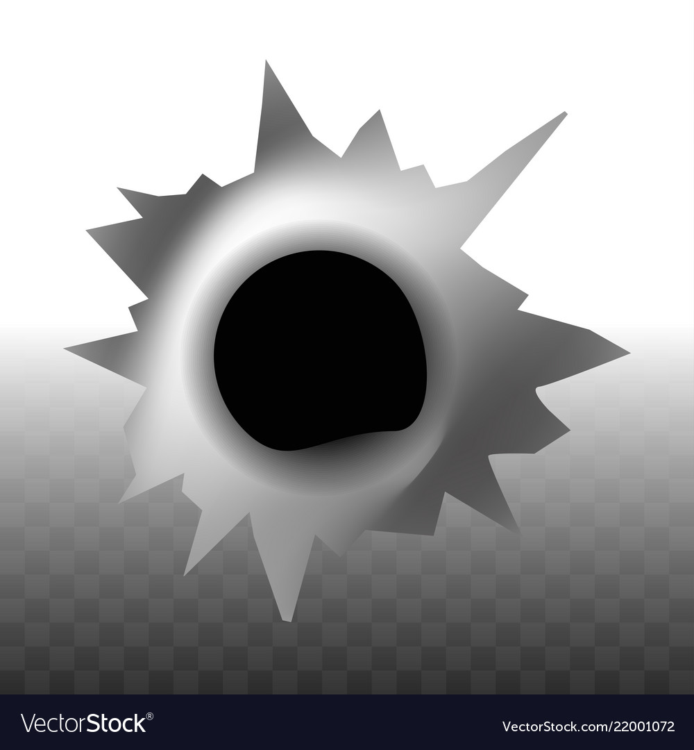 Bullet trace hole in wall shape transparent
