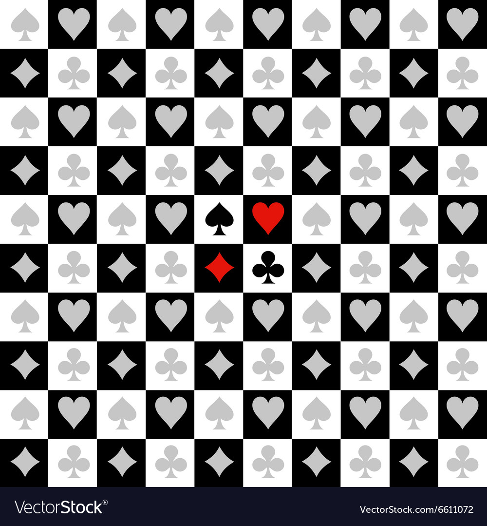 Card Suit Chess Board Black White Background