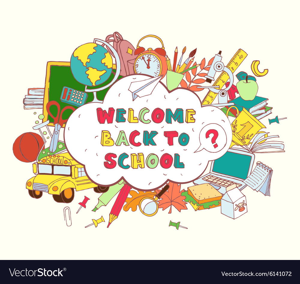 Cloud frame greeting card welcome back to school vector image m4hsunfo