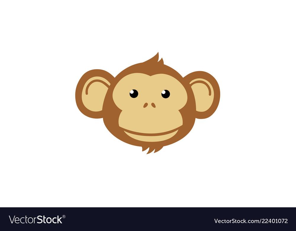Creative thinking cute monkey cartoon logo