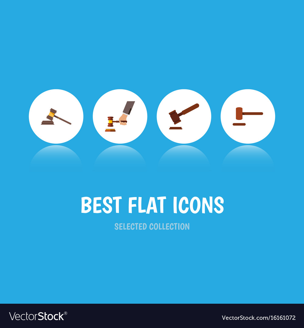 Flat icon lawyer set of court justice crime and vector image