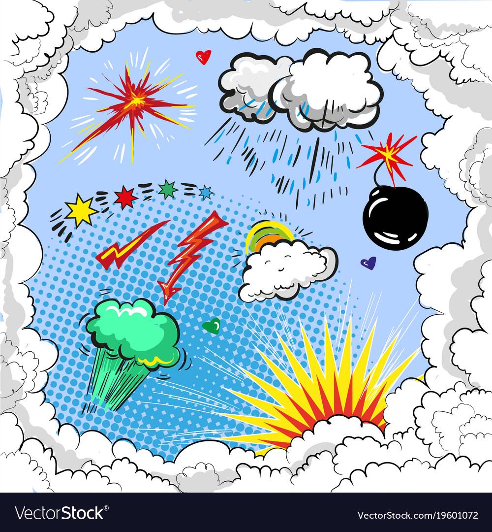 Pop art comic book style explosion boom set vector image