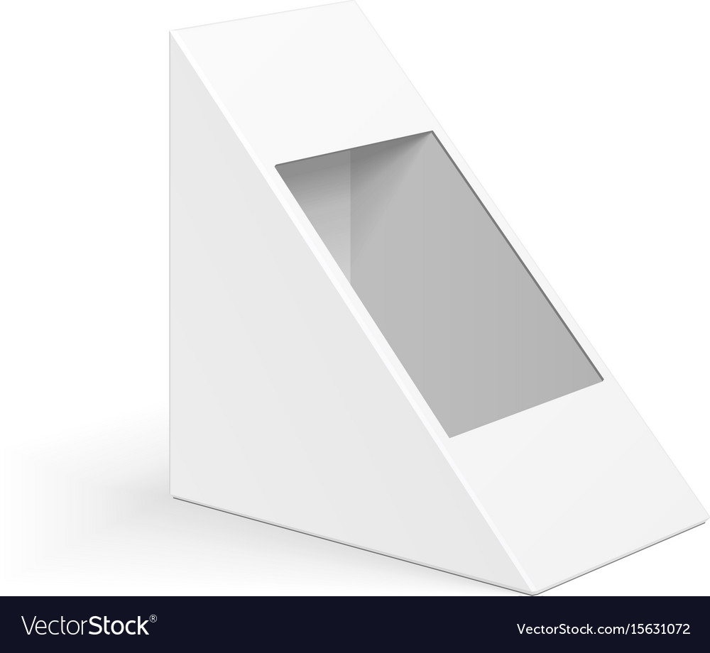 White cardboard triangle box packaging for vector image