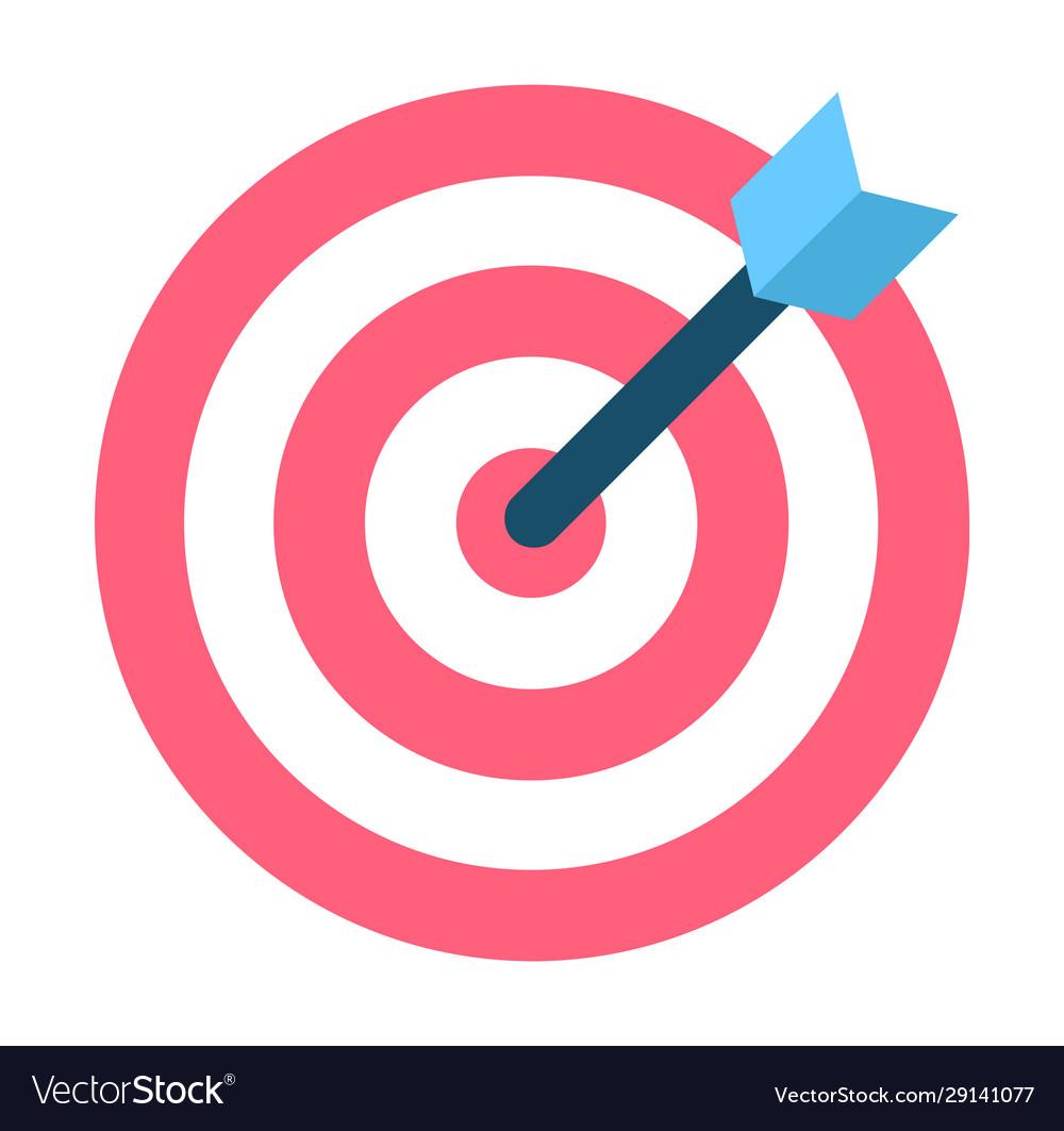 Dartboard with black arrow in bullseye and aim