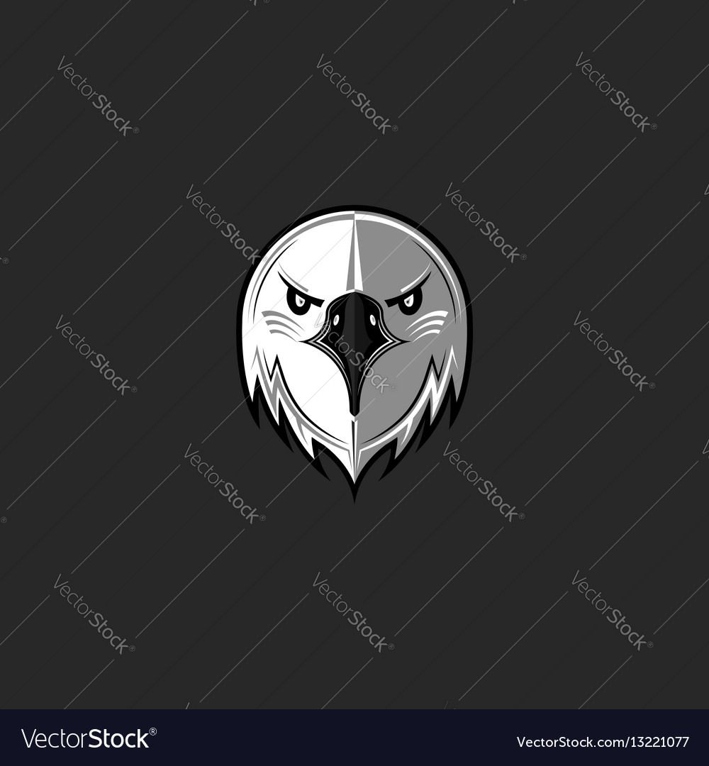 Eagle logo predator bird face aggressive hawk vector image
