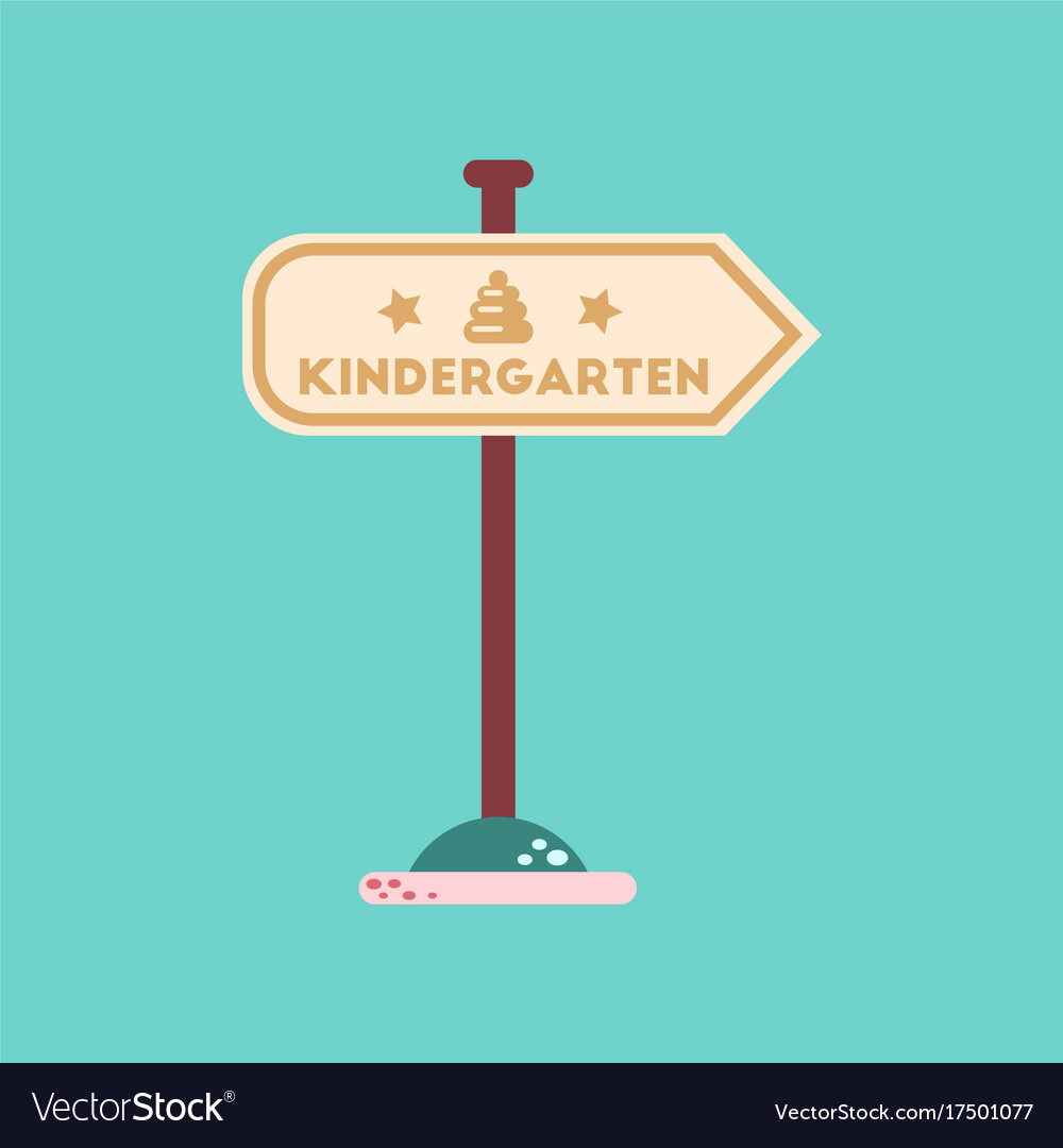 Flat icon on background sign kindergarten
