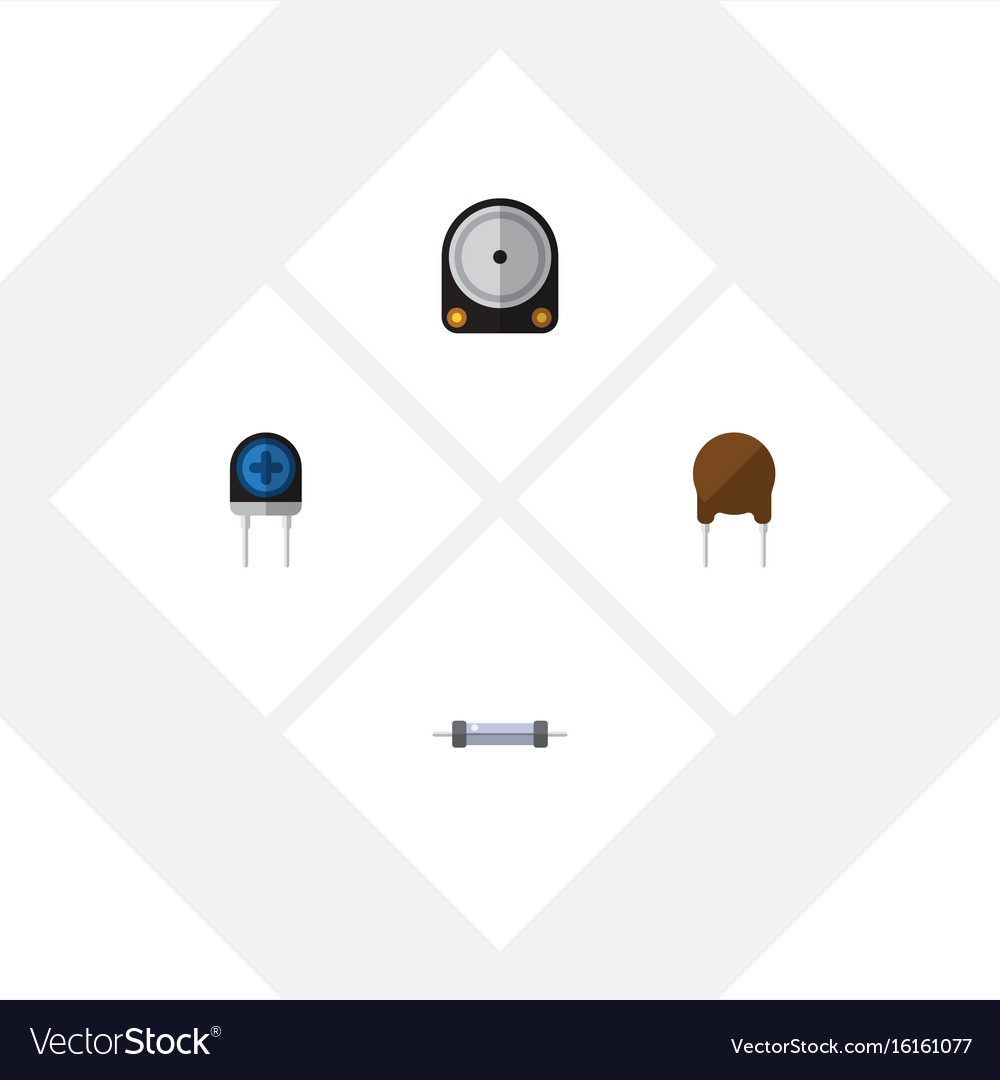 Flat icon technology set of triode transducer vector image