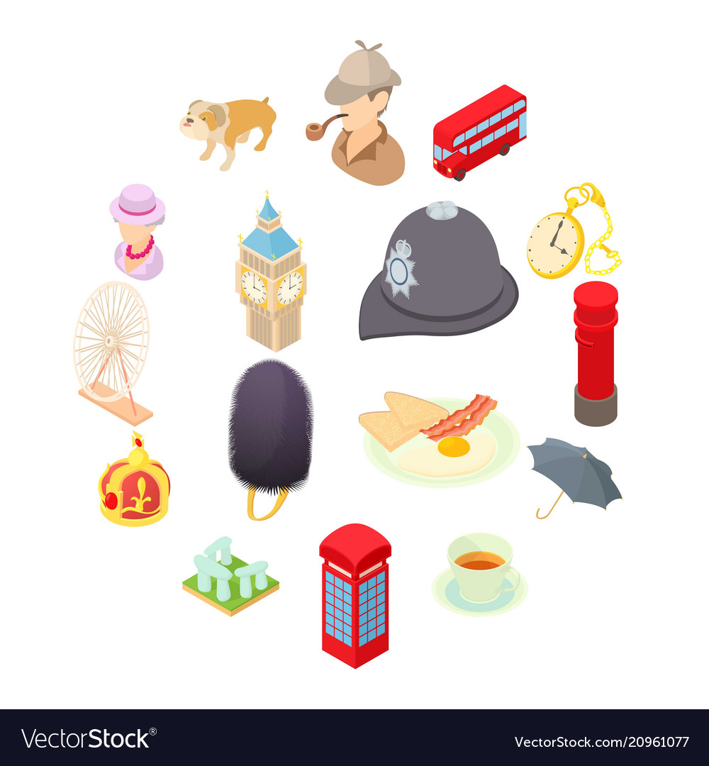 Great britain icons set isometric 3d style